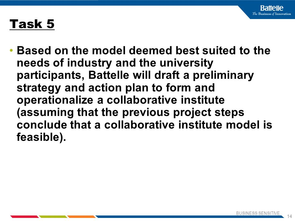 BUSINESS SENSITIVE 14 Task 5 Based on the model deemed best suited to the needs of industry and the university participants, Battelle will draft a preliminary strategy and action plan to form and operationalize a collaborative institute (assuming that the previous project steps conclude that a collaborative institute model is feasible).