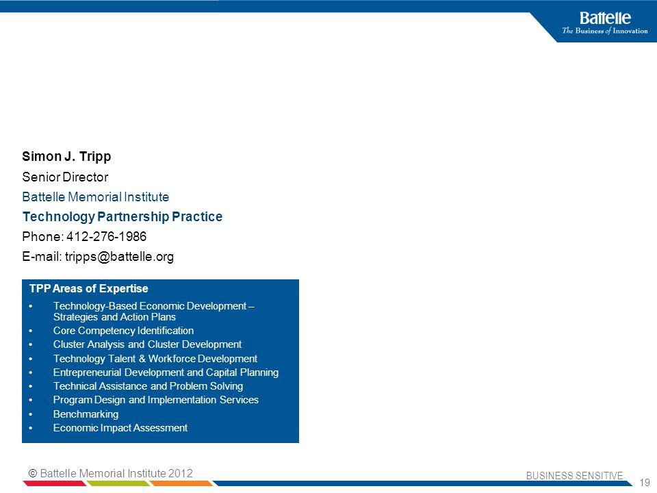BUSINESS SENSITIVE 19 Simon J. Tripp Senior Director Battelle Memorial Institute Technology Partnership Practice Phone: 412-276-1986 E-mail: tripps@ba