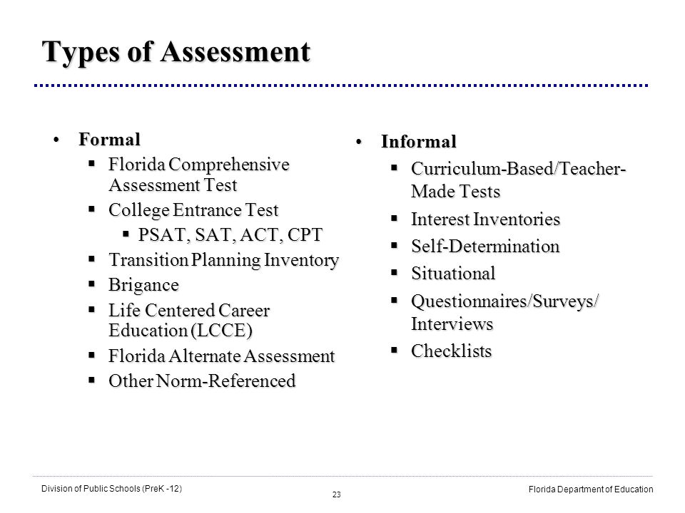 23 Division of Public Schools (PreK -12) Florida Department of Education Types of Assessment FormalFormal Florida Comprehensive Assessment Test Florida Comprehensive Assessment Test College Entrance Test College Entrance Test PSAT, SAT, ACT, CPT PSAT, SAT, ACT, CPT Transition Planning Inventory Transition Planning Inventory Brigance Brigance Life Centered Career Education (LCCE) Life Centered Career Education (LCCE) Florida Alternate Assessment Florida Alternate Assessment Other Norm-Referenced Other Norm-Referenced InformalInformal Curriculum-Based/Teacher- Made Tests Curriculum-Based/Teacher- Made Tests Interest Inventories Interest Inventories Self-Determination Self-Determination Situational Situational Questionnaires/Surveys/ Interviews Questionnaires/Surveys/ Interviews Checklists Checklists