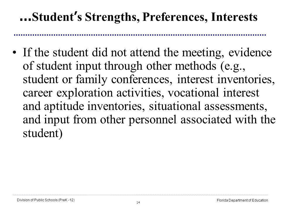 14 Division of Public Schools (PreK -12) Florida Department of Education … Student s Strengths, Preferences, Interests If the student did not attend t