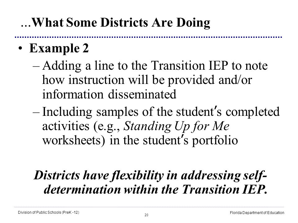 20 Division of Public Schools (PreK -12) Florida Department of Education … What Some Districts Are Doing Example 2 –Adding a line to the Transition IE
