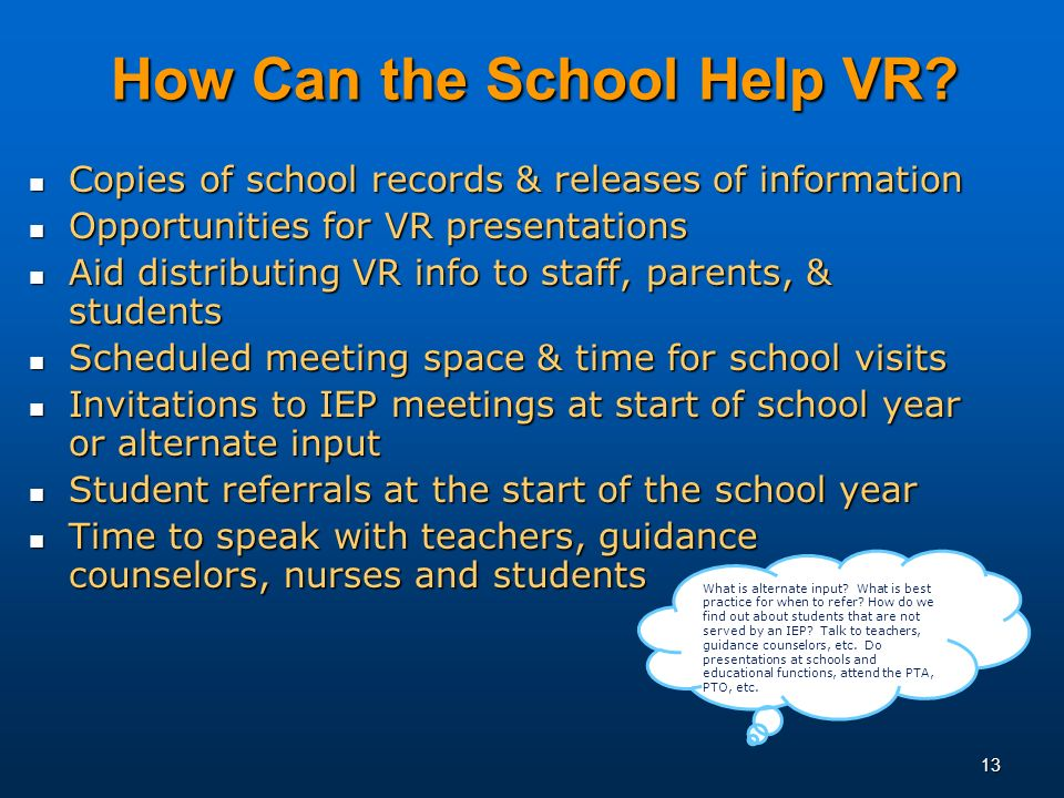 13 How Can the School Help VR.