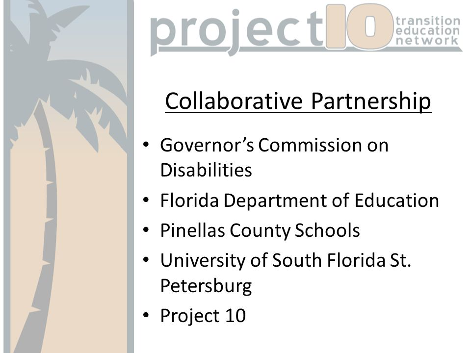 Collaborative Partnership Governors Commission on Disabilities Florida Department of Education Pinellas County Schools University of South Florida St.