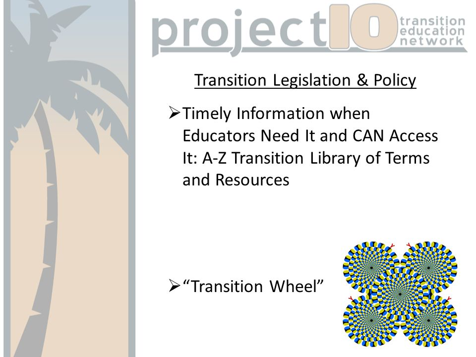 Transition Legislation & Policy Timely Information when Educators Need It and CAN Access It: A-Z Transition Library of Terms and Resources Transition Wheel