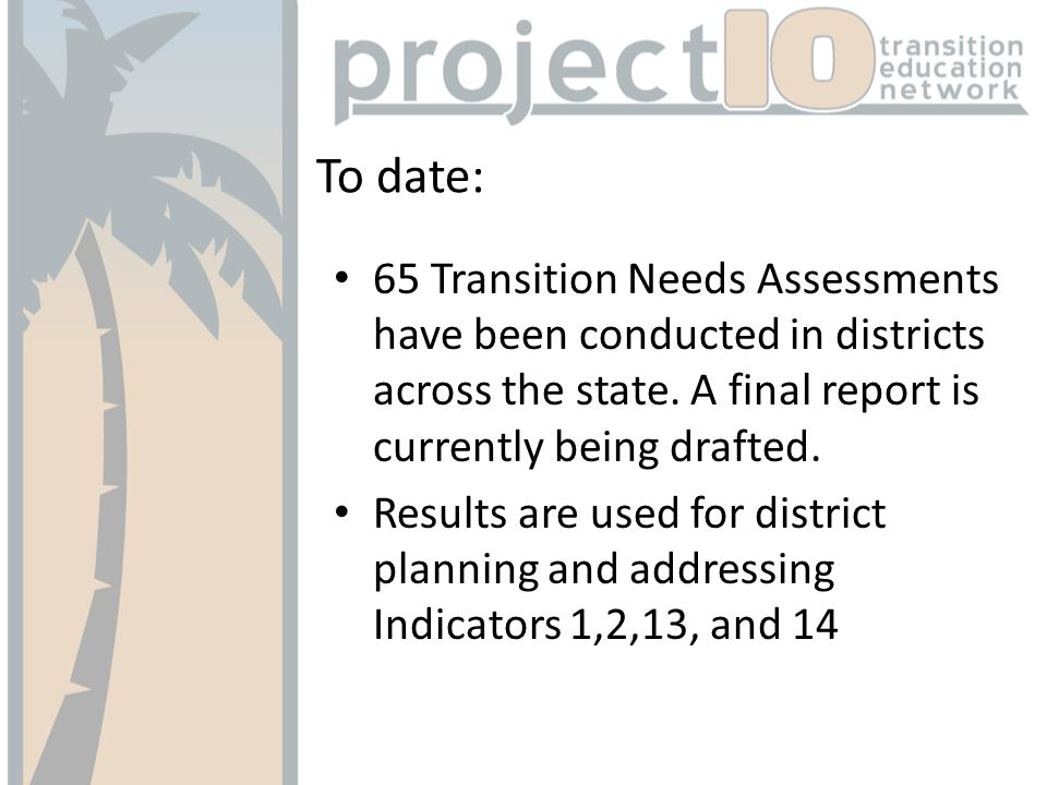 To date: 65 Transition Needs Assessments have been conducted in districts across the state.
