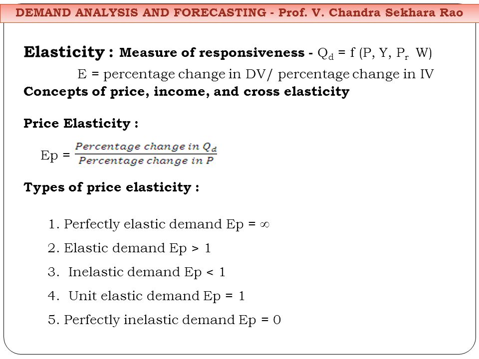 Elasticity : Measure of responsiveness - Q d = f (P, Y, P r W) E = percentage change in DV/ percentage change in IV Concepts of price, income, and cross elasticity Price Elasticity : Ep = Types of price elasticity : 1.