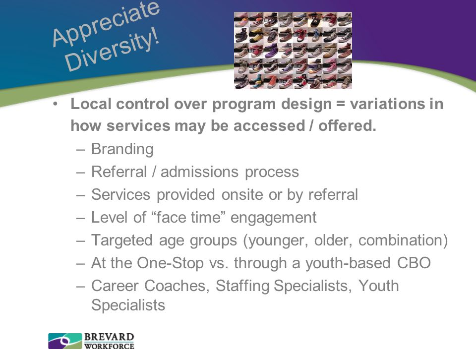 Appreciate Diversity! Local control over program design = variations in how services may be accessed / offered. –Branding –Referral / admissions proce