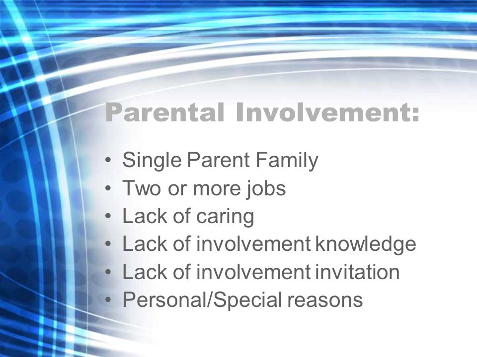 Parental Involvement: Single Parent Family Two or more jobs Lack of caring Lack of involvement knowledge Lack of involvement invitation Personal/Special reasons
