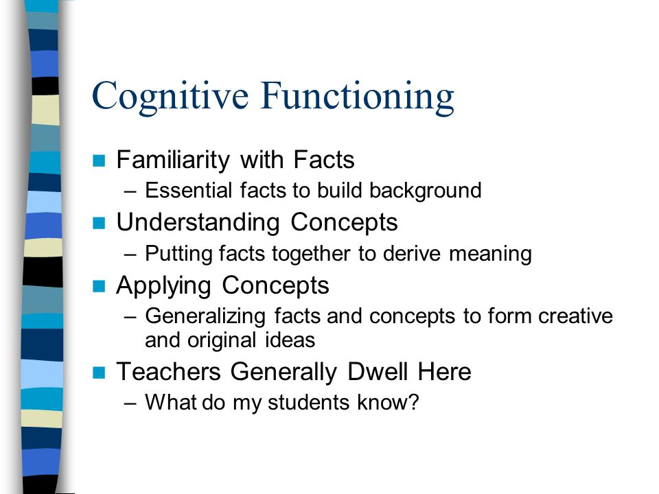 Cognitive Functioning Familiarity with Facts –Essential facts to build background Understanding Concepts –Putting facts together to derive meaning App