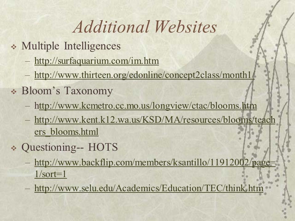 Additional Websites Multiple Intelligences –http://surfaquarium.com/im.htmhttp://surfaquarium.com/im.htm –http://www.thirteen.org/edonline/concept2class/month1/http://www.thirteen.org/edonline/concept2class/month1/ Blooms Taxonomy –http://www.kcmetro.cc.mo.us/longview/ctac/blooms.htmttp://www.kcmetro.cc.mo.us/longview/ctac/blooms.htm –http://www.kent.k12.wa.us/KSD/MA/resources/blooms/teach ers_blooms.htmlhttp://www.kent.k12.wa.us/KSD/MA/resources/blooms/teach ers_blooms.html Questioning-- HOTS –http://www.backflip.com/members/ksantillo/11912002/page= 1/sort=1http://www.backflip.com/members/ksantillo/11912002/page= 1/sort=1 –http://www.selu.edu/Academics/Education/TEC/think.htmhttp://www.selu.edu/Academics/Education/TEC/think.htm