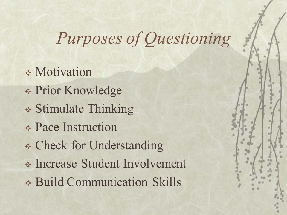 Purposes of Questioning Motivation Prior Knowledge Stimulate Thinking Pace Instruction Check for Understanding Increase Student Involvement Build Comm