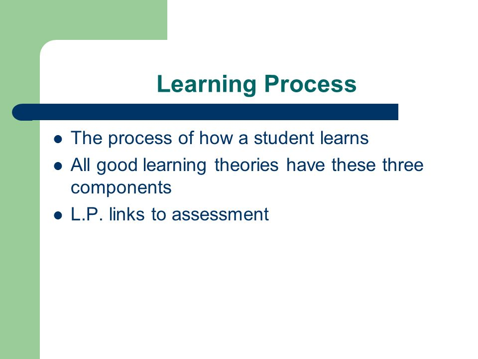 Learning Process The process of how a student learns All good learning theories have these three components L.P. links to assessment