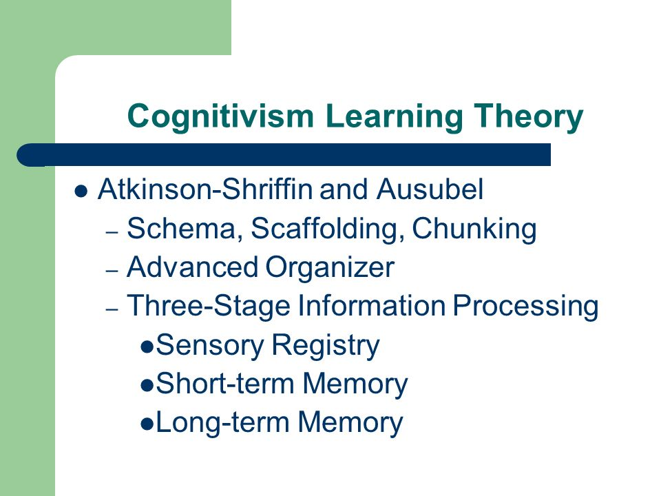 Cognitivism Learning Theory Atkinson-Shriffin and Ausubel – Schema, Scaffolding, Chunking – Advanced Organizer – Three-Stage Information Processing Sensory Registry Short-term Memory Long-term Memory