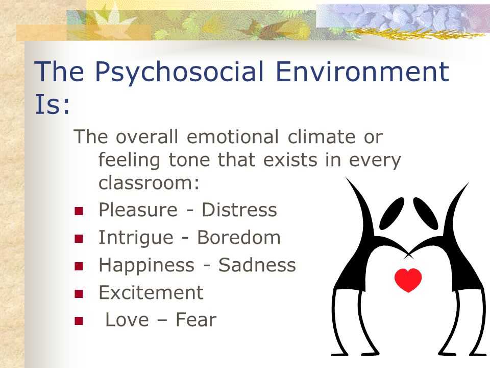The Psychosocial Environment Is: The overall emotional climate or feeling tone that exists in every classroom: Pleasure - Distress Intrigue - Boredom