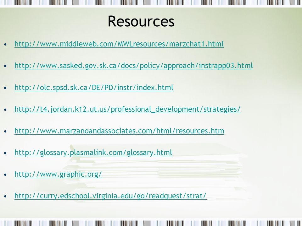Resources http://www.middleweb.com/MWLresources/marzchat1.html http://www.sasked.gov.sk.ca/docs/policy/approach/instrapp03.html http://olc.spsd.sk.ca/