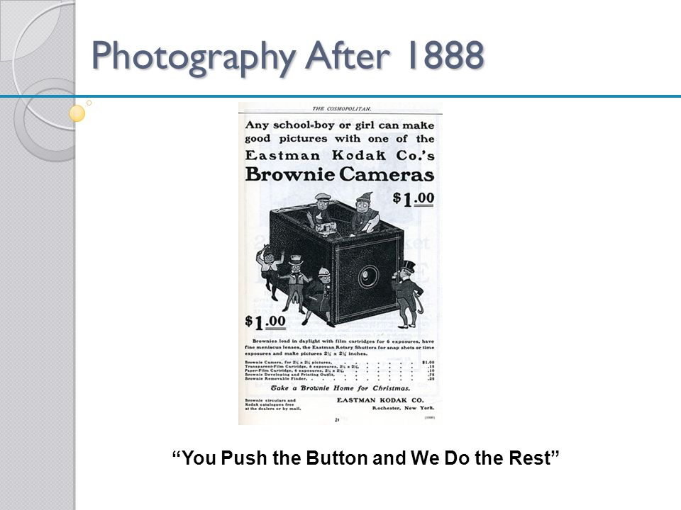 Photography After 1888 You Push the Button and We Do the Rest