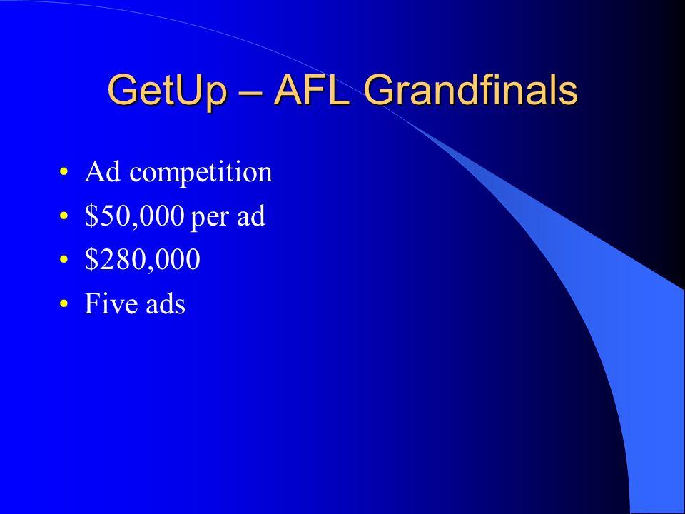GetUp – AFL Grandfinals Ad competition $50,000 per ad $280,000 Five ads