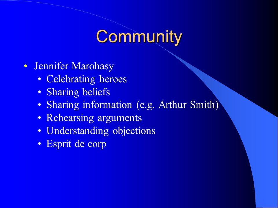 Community Jennifer Marohasy Celebrating heroes Sharing beliefs Sharing information (e.g. Arthur Smith) Rehearsing arguments Understanding objections E