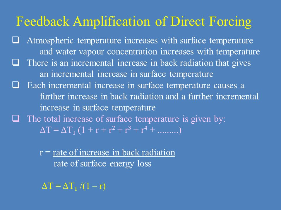 Feedback Amplification of Direct Forcing Atmospheric temperature increases with surface temperature and water vapour concentration increases with temp