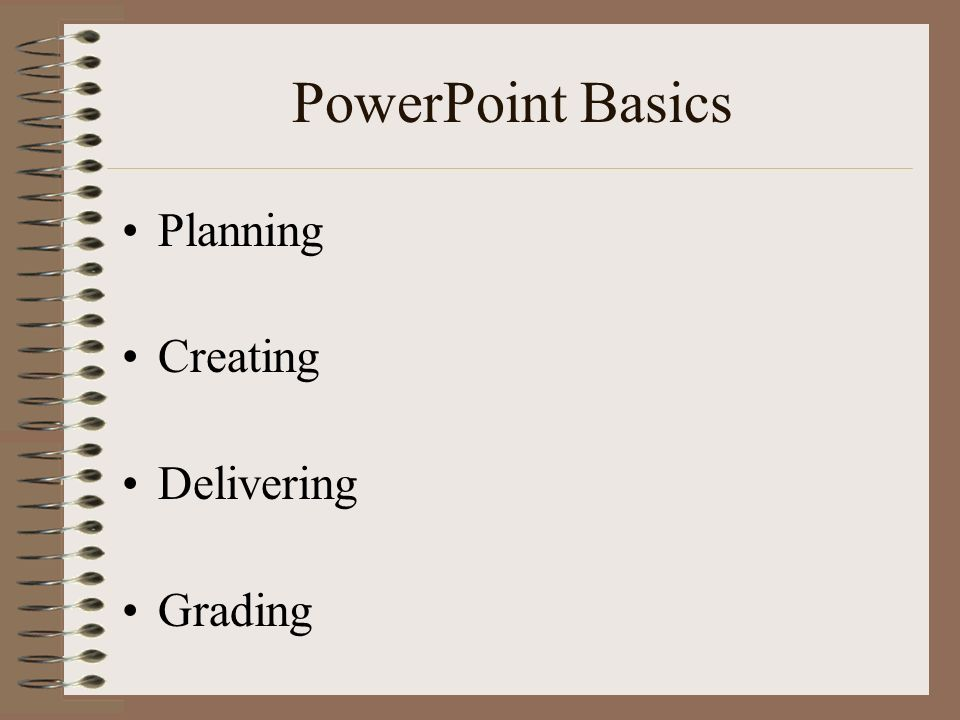 PowerPoint Basics Planning Creating Delivering Grading