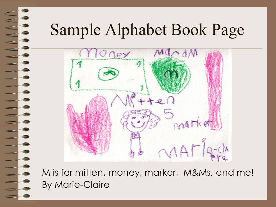 Sample Alphabet Book Page M is for mitten, money, marker, M&Ms, and me! By Marie-Claire
