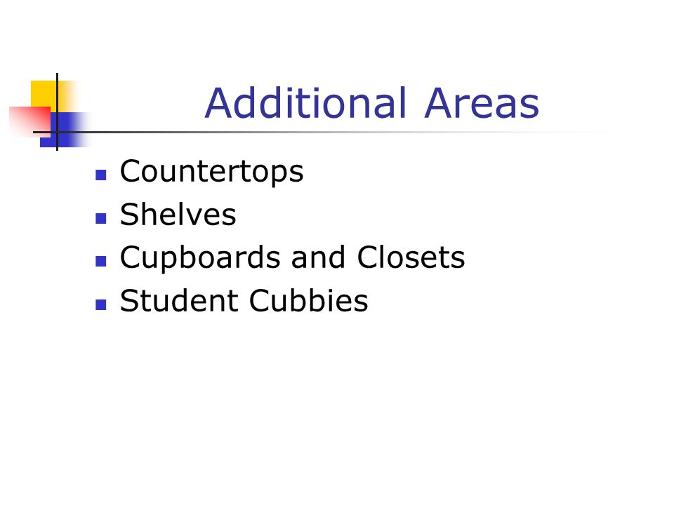 Additional Areas Countertops Shelves Cupboards and Closets Student Cubbies