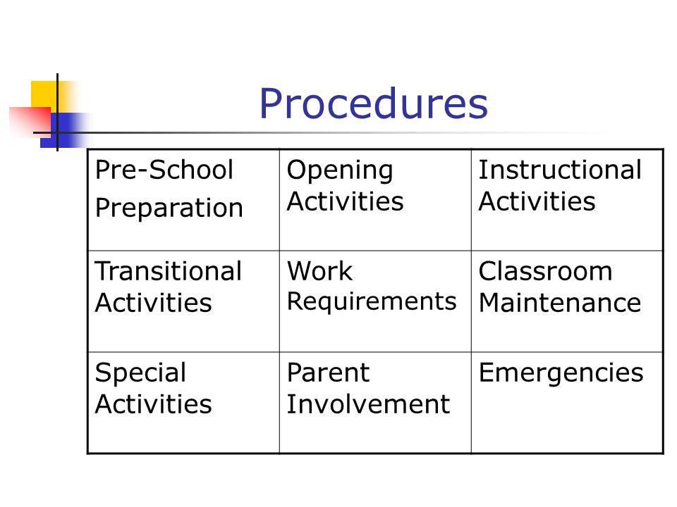 Procedures Pre-School Preparation Opening Activities Instructional Activities Transitional Activities Work Requirements Classroom Maintenance Special