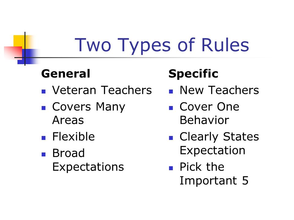 Two Types of Rules General Veteran Teachers Covers Many Areas Flexible Broad Expectations Specific New Teachers Cover One Behavior Clearly States Expe