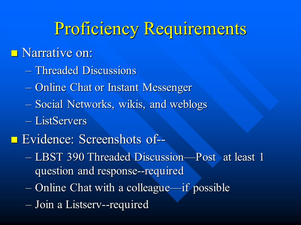 Proficiency Requirements Narrative on: Narrative on: –Threaded Discussions –Online Chat or Instant Messenger –Social Networks, wikis, and weblogs –Lis