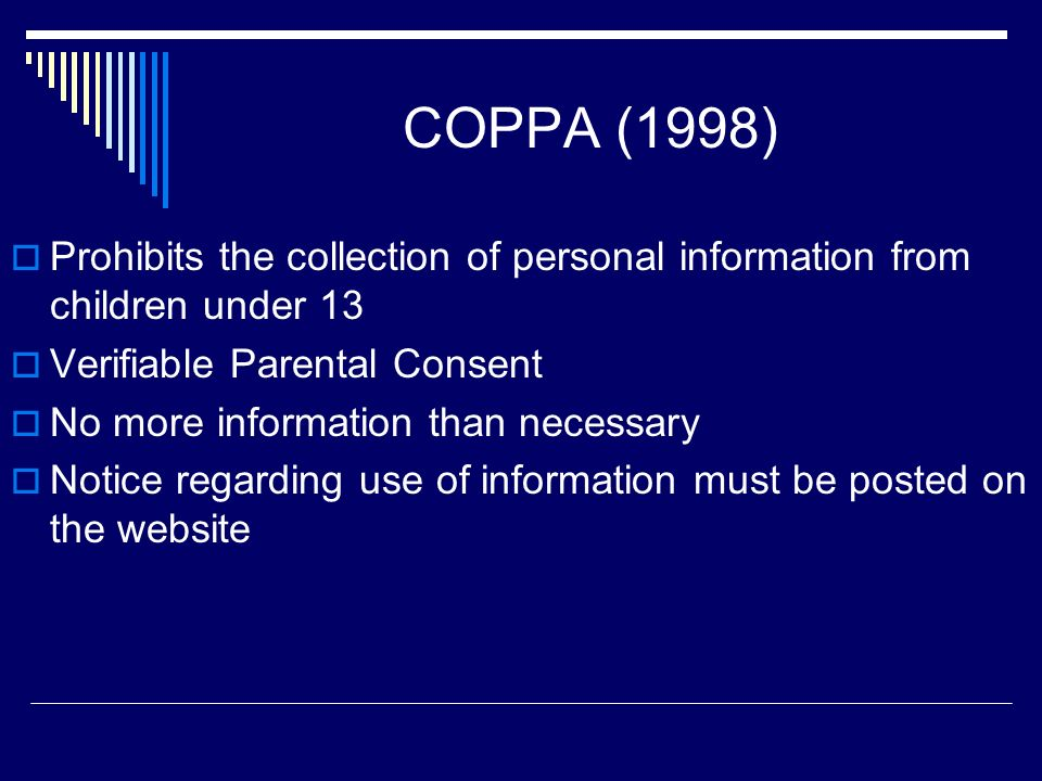 CIPA (2000) Schools and Libraries shall implement policy that protects minors (under 17): Inappropriate Material on the WWW Harmful E-mail, Chat Rooms Unauthorized Access, Hacking Personal Information on the WWW While maintaining full access for those over 18 Or, Lose Funding