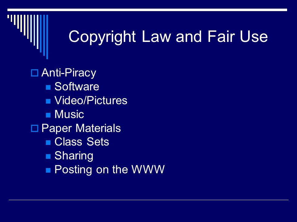 Copyright and Fair Use Plagiarism Teachers and Students www.turnitin.com http://www.plagiarism.org/ http://www.virtualsalt.com/antiplag.h tm http://www.virtualsalt.com/antiplag.h tm http://plagiarism.phys.virginia.edu/