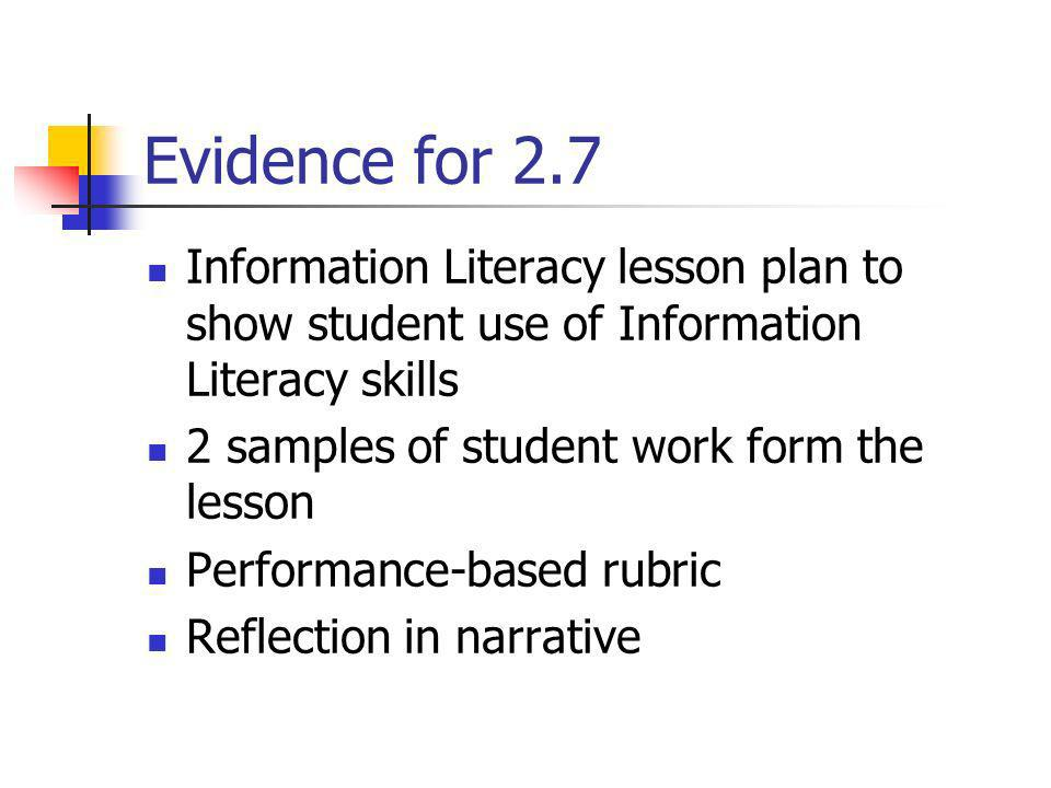 Evidence for 2.7 Information Literacy lesson plan to show student use of Information Literacy skills 2 samples of student work form the lesson Perform