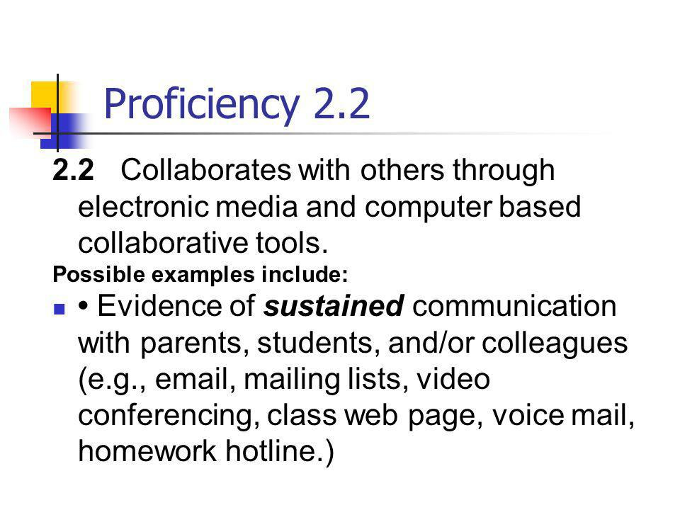 Proficiency 2.2 2.2Collaborates with others through electronic media and computer based collaborative tools. Possible examples include: Evidence of su