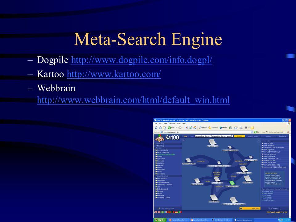 Meta-Search Engine –Dogpile http://www.dogpile.com/info.dogpl/http://www.dogpile.com/info.dogpl/ –Kartoo http://www.kartoo.com/http://www.kartoo.com/