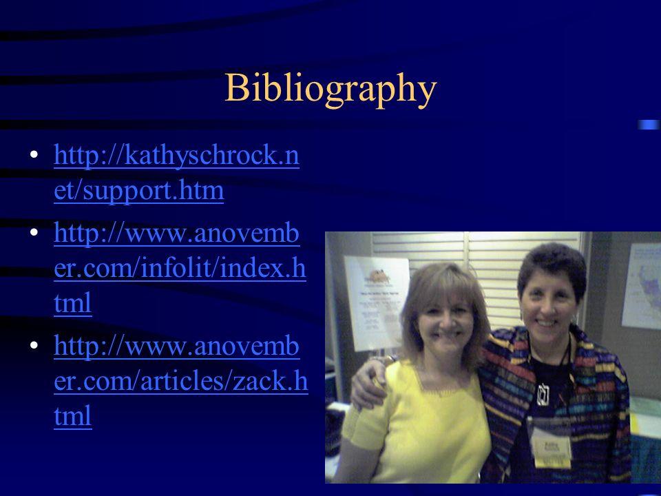 Bibliography http://kathyschrock.n et/support.htmhttp://kathyschrock.n et/support.htm http://www.anovemb er.com/infolit/index.h tmlhttp://www.anovemb er.com/infolit/index.h tml http://www.anovemb er.com/articles/zack.h tmlhttp://www.anovemb er.com/articles/zack.h tml
