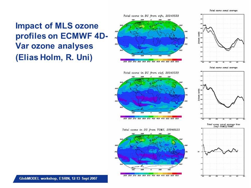 Slide 10 GlobMODEL workshop, ESRIN, 12-13 Sept 2007 Impact of MLS ozone profiles on ECMWF 4D- Var ozone analyses (Elias Holm, R.