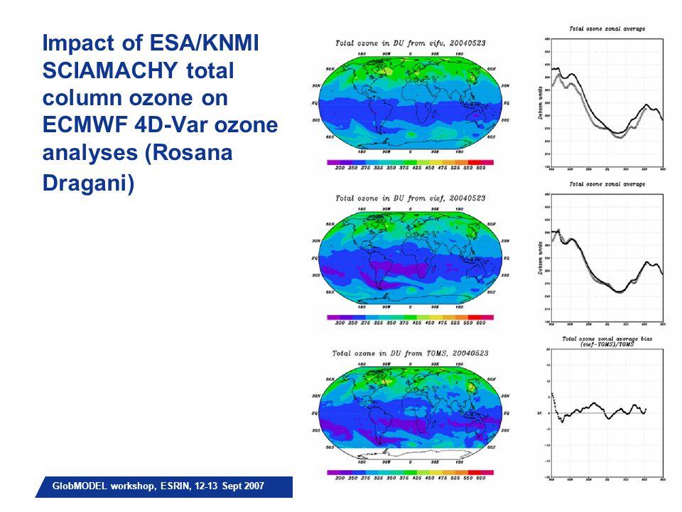 Slide 18 GlobMODEL workshop, ESRIN, 12-13 Sept 2007 Impact of ESA/KNMI SCIAMACHY total column ozone on ECMWF 4D-Var ozone analyses (Rosana Dragani)