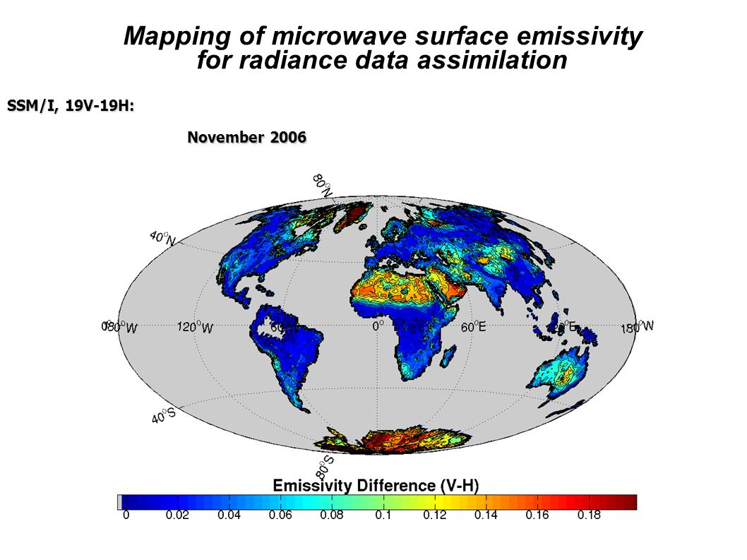 SSM/I, 19V-19H: November 2006 Mapping of microwave surface emissivity for radiance data assimilation