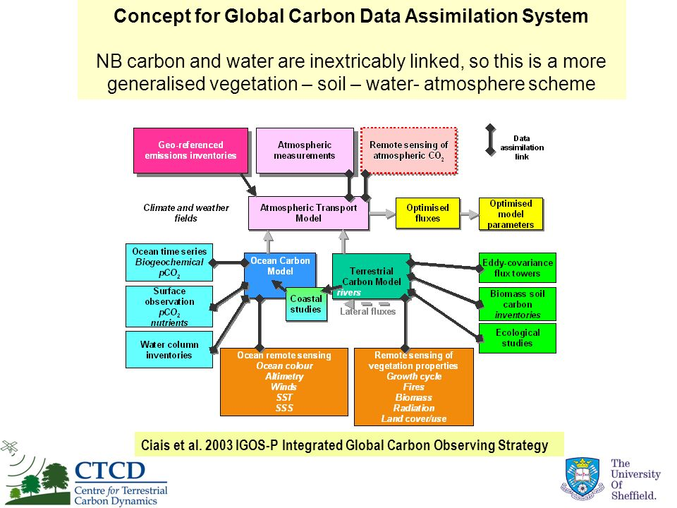 Ciais et al. 2003 IGOS-P Integrated Global Carbon Observing Strategy Concept for Global Carbon Data Assimilation System NB carbon and water are inextr