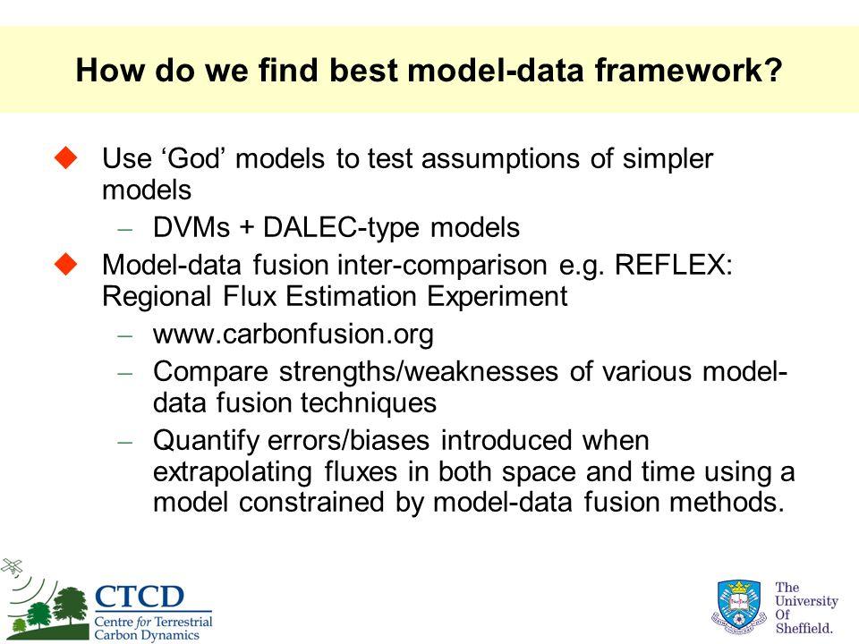 How do we find best model-data framework? Use God models to test assumptions of simpler models – DVMs + DALEC-type models Model-data fusion inter-comp