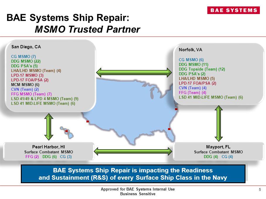 BAE Systems Ship Repair: MSMO Trusted Partner San Diego, CA CG MSMO (7) DDG MSMO (22) DDG PSAs (5) LHA/LHD MSMO (Team) (4) LPD-17 MSMO (3) LPD-17 FOA/