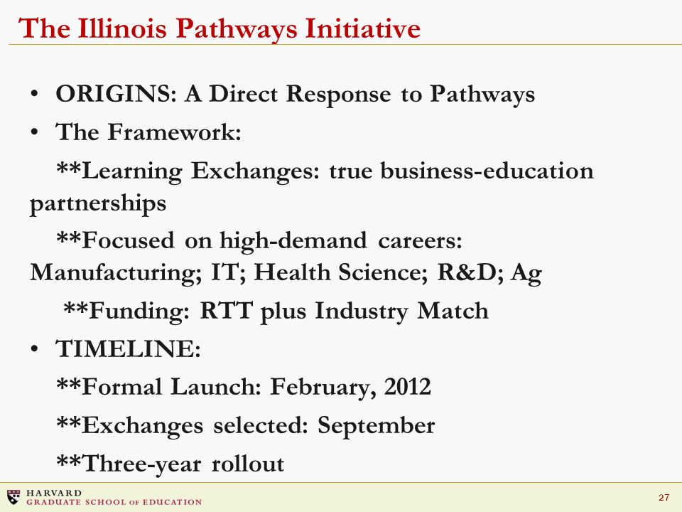 27 The Illinois Pathways Initiative ORIGINS: A Direct Response to Pathways The Framework: **Learning Exchanges: true business-education partnerships *