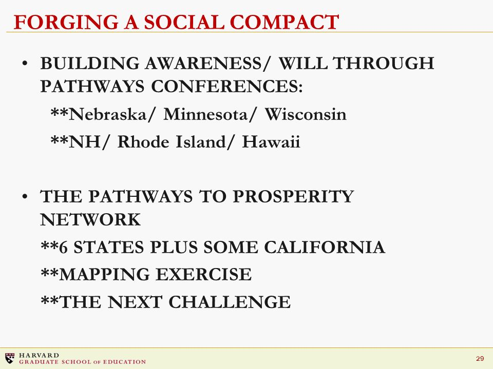 29 FORGING A SOCIAL COMPACT BUILDING AWARENESS/ WILL THROUGH PATHWAYS CONFERENCES: **Nebraska/ Minnesota/ Wisconsin **NH/ Rhode Island/ Hawaii THE PAT