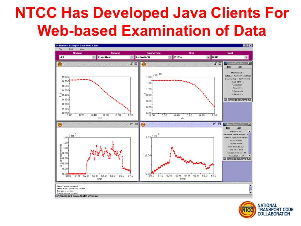 NTCC Has Developed Java Clients For Web-based Examination of Data