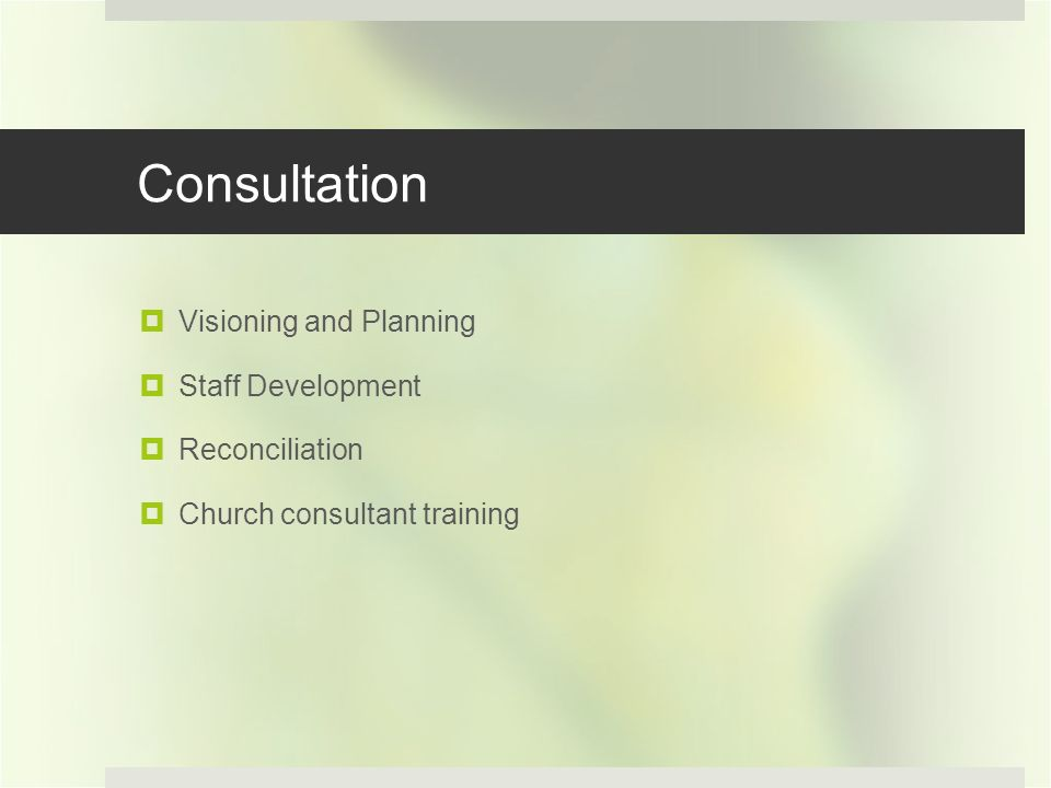 Consultation Visioning and Planning Staff Development Reconciliation Church consultant training