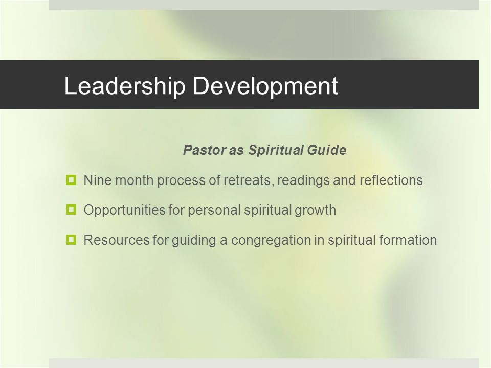 Leadership Development Pastor as Spiritual Guide Nine month process of retreats, readings and reflections Opportunities for personal spiritual growth Resources for guiding a congregation in spiritual formation