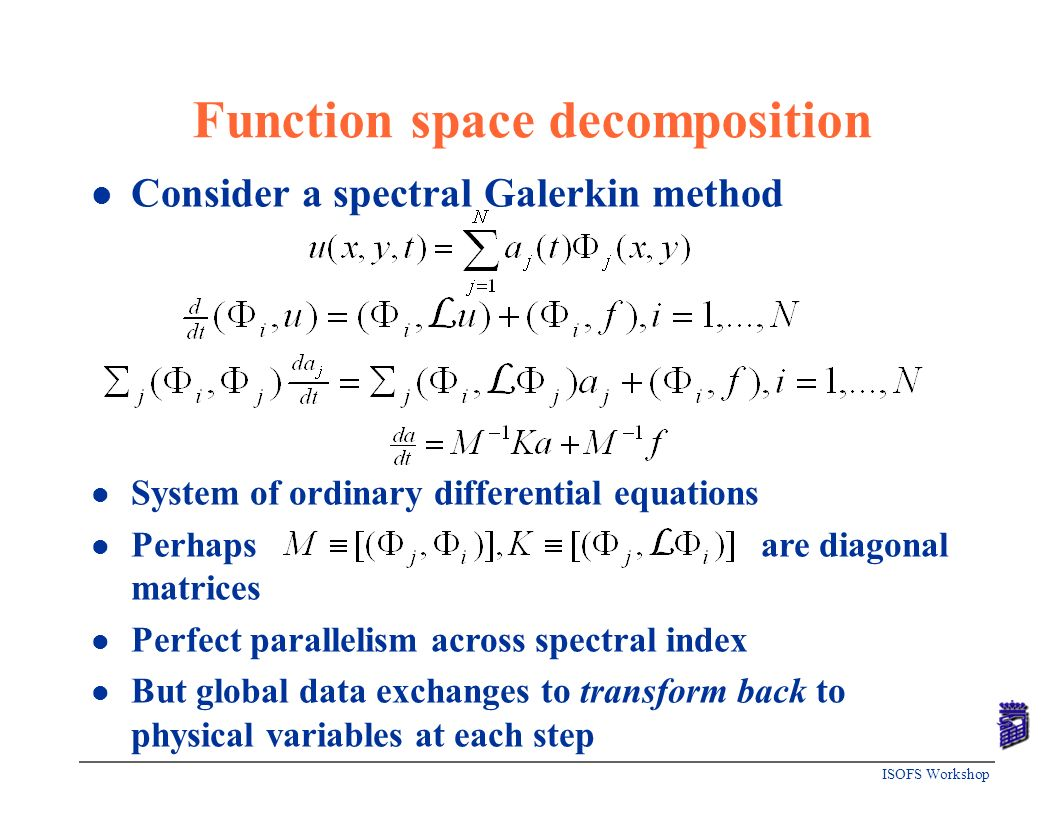 ISOFS Workshop Function space decomposition l Consider a spectral Galerkin method l System of ordinary differential equations l Perhaps are diagonal m