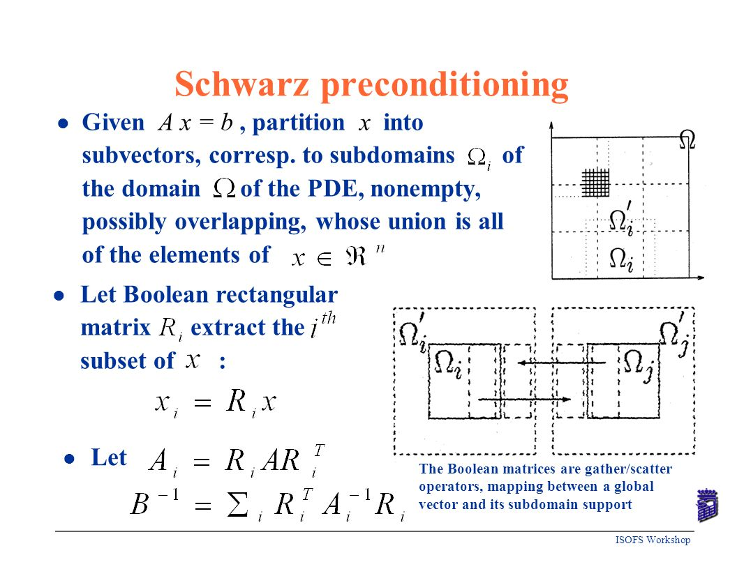 ISOFS Workshop Schwarz preconditioning l Given A x = b, partition x into subvectors, corresp. to subdomains of the domain of the PDE, nonempty, possib