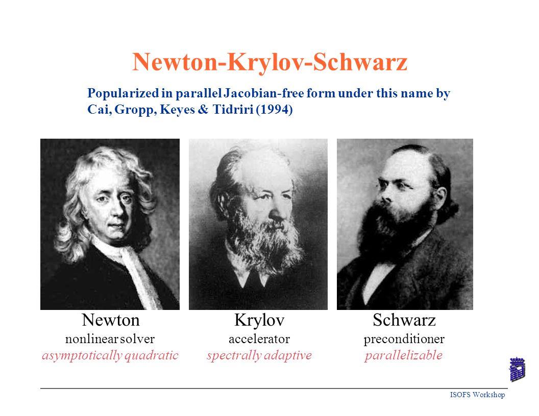 ISOFS Workshop Newton-Krylov-Schwarz Newton nonlinear solver asymptotically quadratic Krylov accelerator spectrally adaptive Schwarz preconditioner pa