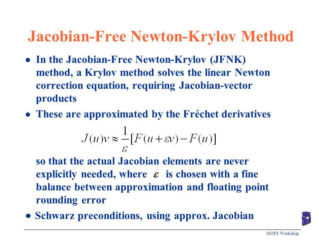 ISOFS Workshop Jacobian-Free Newton-Krylov Method l In the Jacobian-Free Newton-Krylov (JFNK) method, a Krylov method solves the linear Newton correct